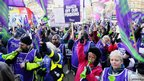 Public sector workers attend a rally in Bradford City centre