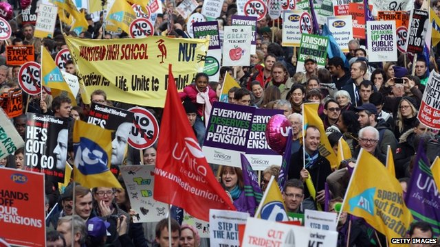 Protesters march during public sector strikes in London