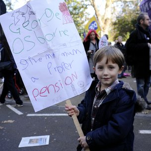 Young boy with his protest poster