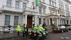 Police officers are deployed outside the Iranian Embassy in central London, 30 November 2011