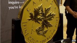 Canada's one million dollar-face value coin, weighing 100kg and made of 99.999% pure gold 4 November 2011