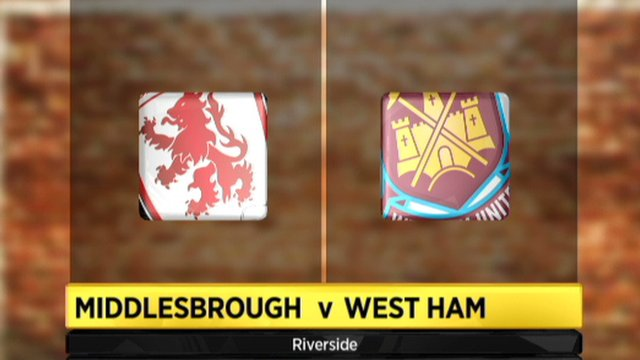 Middlesborough 0-2 West Ham