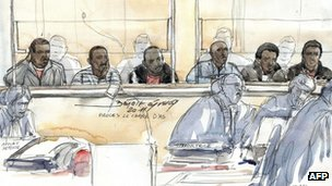 A court sketch shows six alleged Somali pirates accused of taking a French couple hostage on their yacht off the coast of Somalia in 2008
