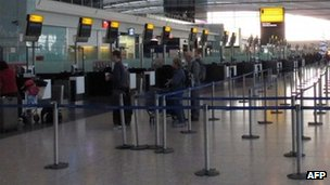 Check-in desks at Heathrow
