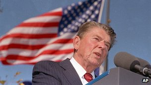 Ronald Reagan at the inauguration of his presidential library in Simi Valley, California, 4 November 1991