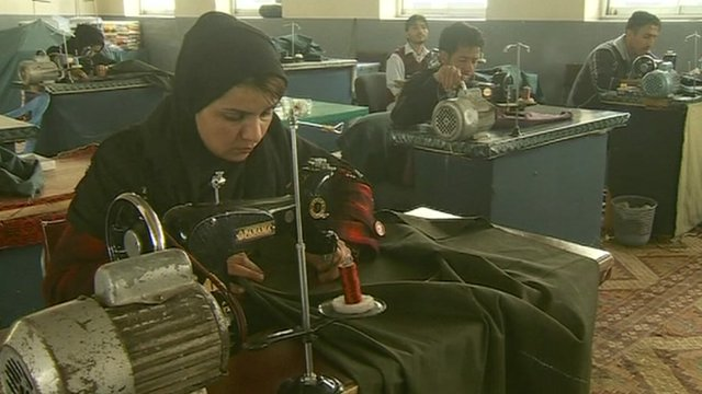 Afghan women working in factory