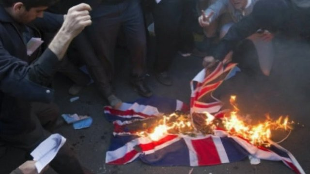 British flag burned