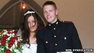 Fusilier James Wilkinson with his wife Sarah on their wedding day