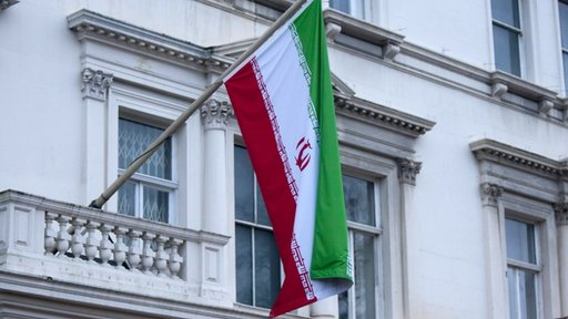 Iranian flag outside embassy in London