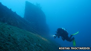 Kostas Thoctarides swimming next to the wreck of HMS Perseus