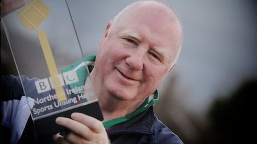 Eoghan Rua Coleraine GAA stalwart Sean McGoldrick with the BBC NI Sports Unsung Hero award