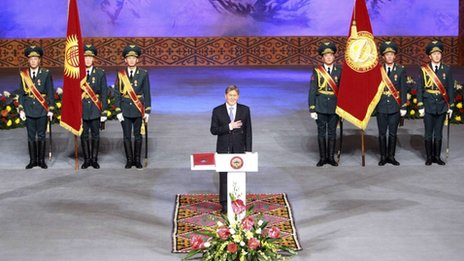 New president Almazbek Atambayev takes part in an inauguration ceremony in the capital Bishkek December 1, 2011.