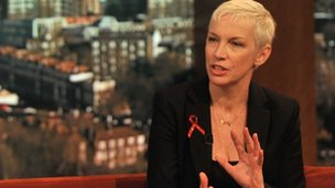 Annie Lennox being interviewed on the Andrew Marr show