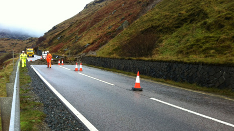 landslip on A83 at Rest and Be Thankful (Pic Pete Cole)