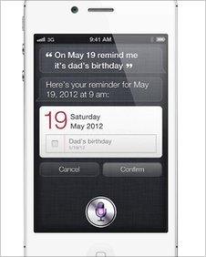 Siri on an iPhone