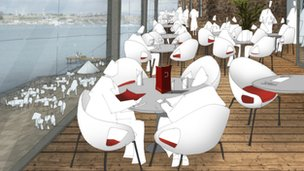 Artists' impressions of the restaurant