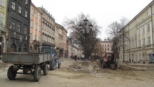 Construction work in the centre of Lviv