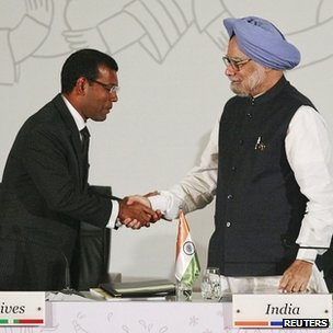 President Nasheed of The Maldives and Prime Minister Manmohan Singh of India
