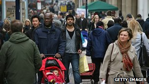 People shopping in a London street