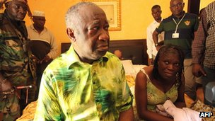 Laurent Gbagbo and his wife Simone at the Golf Hotel in Abidjan after their arrest on April 11, 2011