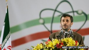 Iranian President Mahmoud Ahmadinejad during a visit the Natanz uranium enrichment facility
