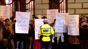Protesters at Belfast City Hall