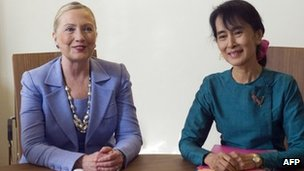 Hillary Clinton  with Aung San Suu Kyi