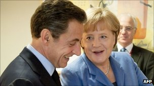 Nicolas Sarkozy and Angela Merkel in Brussels, 30 November 2011