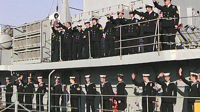 Royal Navy crews return to Portsmouth