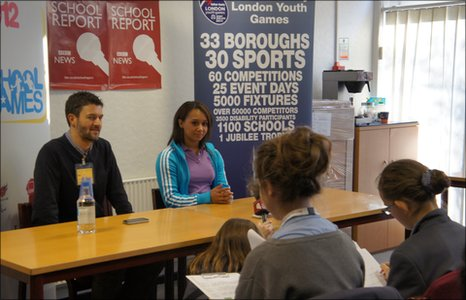 Zoe Smith answers questions from Townley Grammar School Reporters