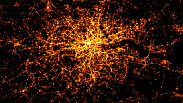 This graphic visualises all road crashes in London mapped over 24 hours, between 1999 and 2010.