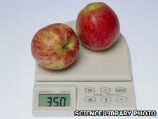 Apples on a scale