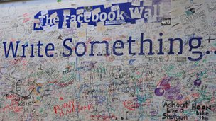 """The Facebook """"Wall"""" at the company's headquarters"""