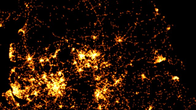 This graphic visualises all road crashes in Leeds, Manchester, Liverpool, Bradford, and York between 1999 and 2010, mapped over 24 hours.