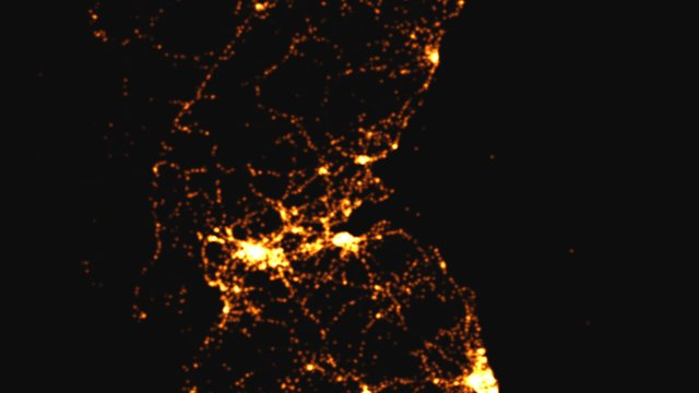 This graphic visualises all road crashes in Edinburgh, Glasgow and Newcastle between 1999 and 2010, mapped over 24 hours.