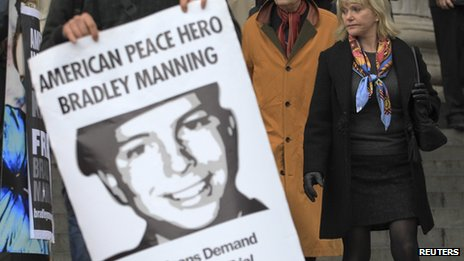 Bradley Manning poster at a demonstration in London