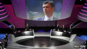 Gary Speed image on screen at Euro 2012 in Kiev