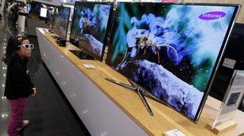 Samsung TVs in a Seoul showroom