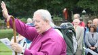 The Bishop of St Asaph, the Right Reverend Dr Gregory K Cameron blesses the pilgrims before they begin their journey