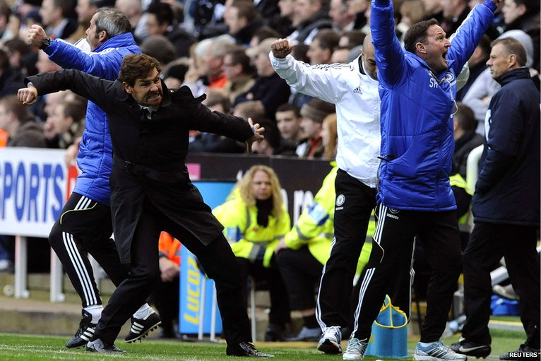 The Chelsea bench celebrates
