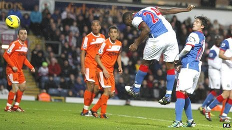 Yakubu heads in his and Blackburn's second goal