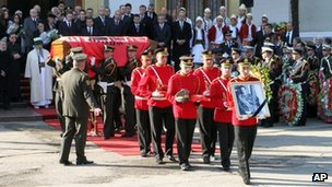 Funeral procession for self-styled king of Albania, Leka Zogu, in Tirana, Albania - 3 December 2011
