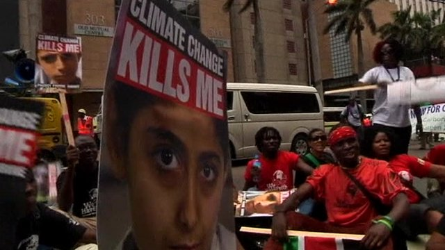 Climate change campaigners in Durban, South Africa