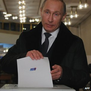 Vladimir Putin voting in Moscow, 4 December