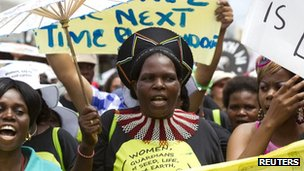 Environmental activists protest at the UN talks in Durban, South Africa, on 3 December 2011