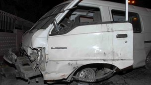 Alleged minibus where bomb went off - picture circulated by Bahrain Interior Ministry