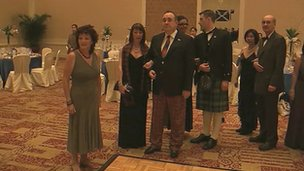 Alex Salmond in his tartan trews