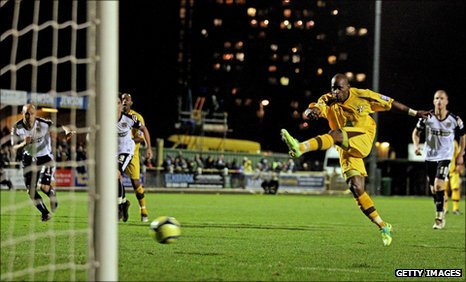 Leroy Griffiths misses his penalty in first-half stoppage-time