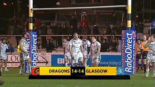 Dragons 14-14 Glasgow Warriors