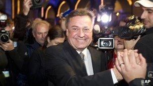 Ljubljana Mayor Zoran Jankovic celebrates in Ljubljana, Slovenia